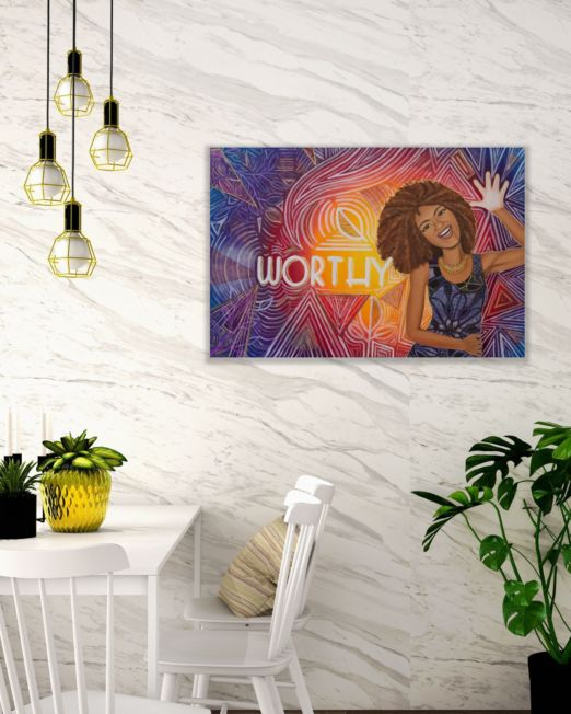 You Are Worthy Painting on a Marble Wall