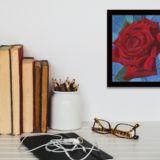 Red Rose in Blue 1 near Desk